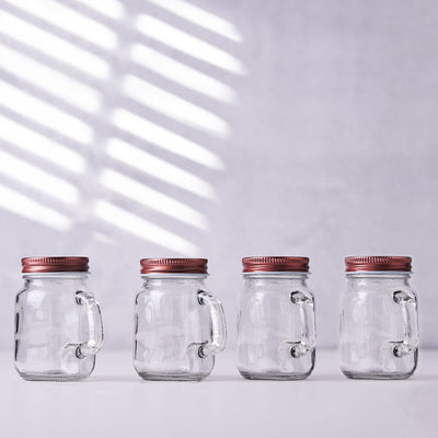 4 Pack | 4oz Clear Glass Mason Jars with Rose Gold Lid