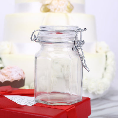 12 Pack 4 Oz Clear Hexagon Glass Jars
