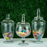 "Set of 3 Apothecary Glass Candy Jars With Lids - 9""/10""/11"""