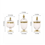 "Set of 3 | Gold Trim Apothecary Jars | Glass Candy Jars With Lids - 9""/9""/8"""