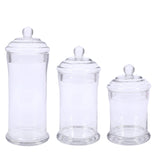 "Set of 3 Apothecary Glass Candy Jars With Lids - 7""/9""/10"""