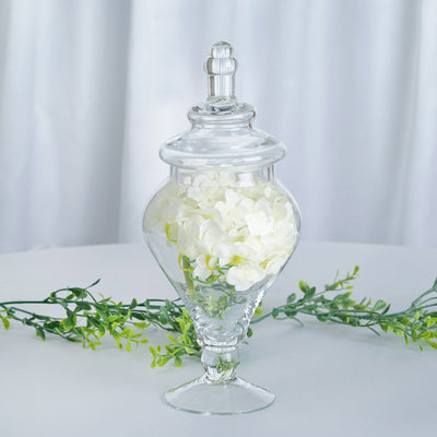 "Set of 3 Apothecary Glass Candy Jars With Lids - 9""/13""/14"""