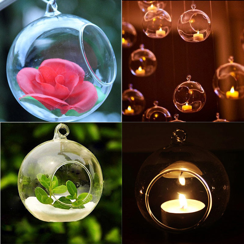 "NEW Set 2 Hanging Candle Holder Air Plant Terrarium Ornament 3 1//4/"" W 3 1//4/"" H"