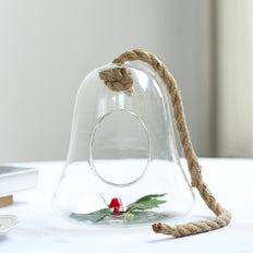 "9"" Bell Hanging Glass Terrarium With Rope 