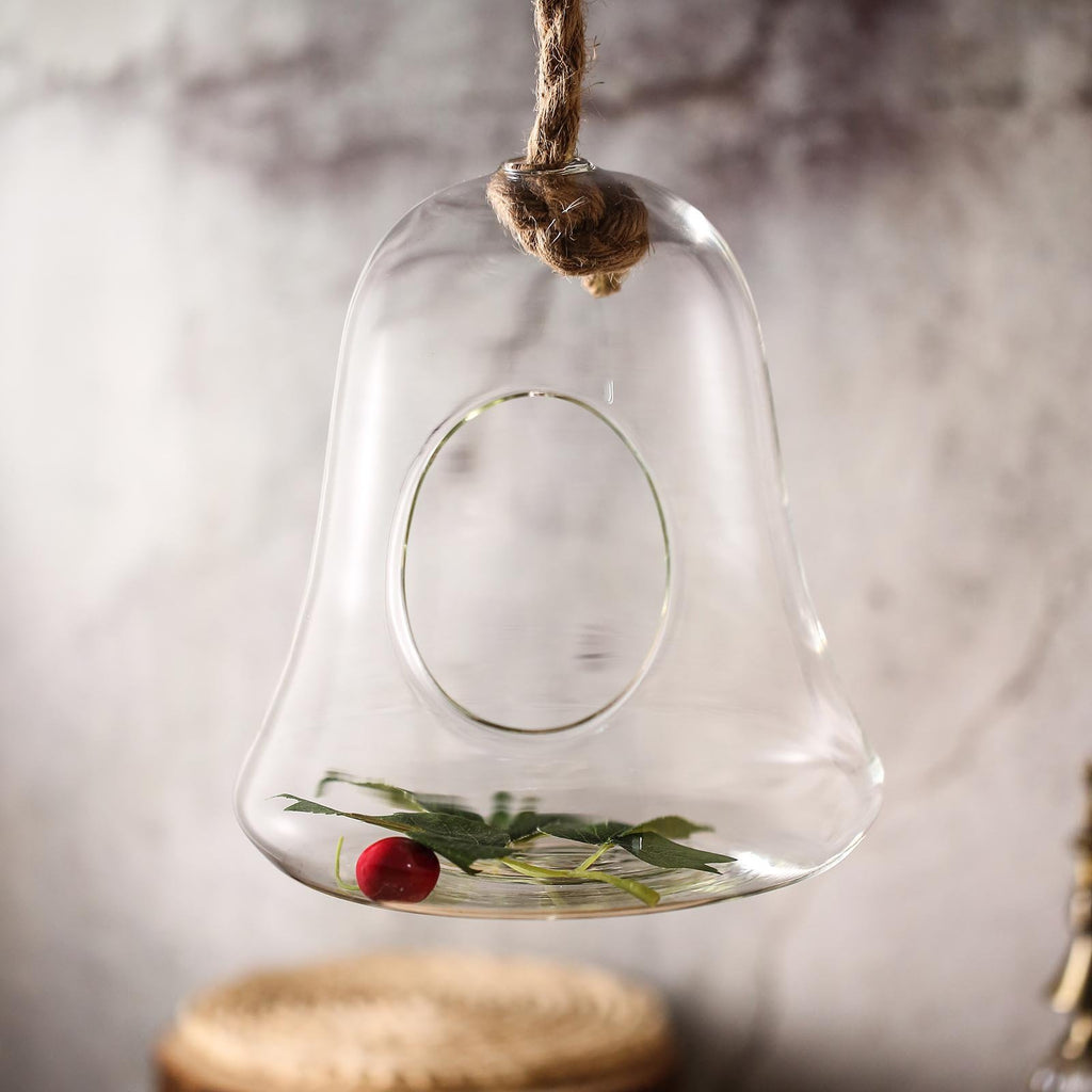 9 Bell Hanging Glass Terrarium With Rope Hanging Succulent Planter Tableclothsfactory