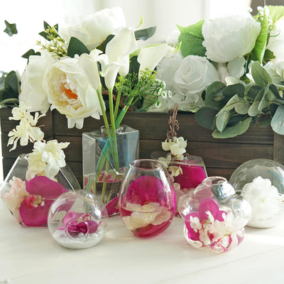3 Pack | Flower Shaped Glass Wall Vase | Hanging Glass Terrarium | Indoor Wall Planters