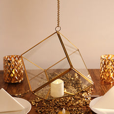 9inch Heptahedron Hanging Gold Metal Geometric Glass Terrarium, Multipurpose Air Plants Holder