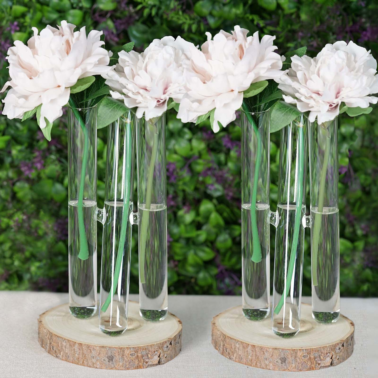 Set Of 2 3 Pcs Clear Glass Conjoined Test Tube Flower Vase Plant Decoration Tableclothsfactory