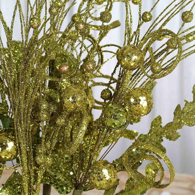 LIME Glitter Frenzy Bushes For Vase Flower Christmas Tree Decoration - 4 PCS