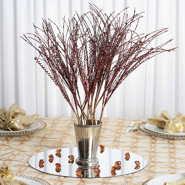 12 Pack Chocolate Wavy Glittered Artificial Stems For Craft And Decoration