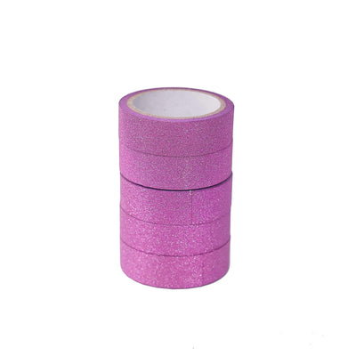 5 Pack | 5 Yards Hot Pink Washi Glitter Tape | Self Adhesive Craft Decorative Tape