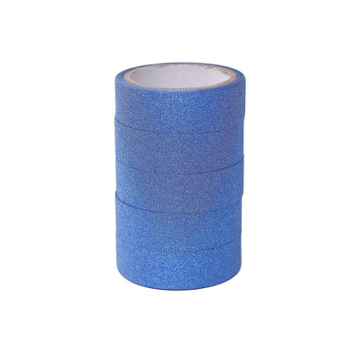 5 Pack | 5 Yards Royal Blue Washi Glitter Tape | Self Adhesive Craft Decorative Tape