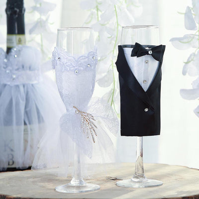 "Set of 2 | 9"" Clear Wedding Champagne Flutes 
