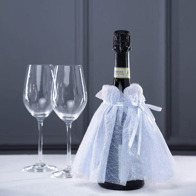 "7"" Wedding Dress Wine Bottle Cover With Satin Ribbon & Rhinestone 