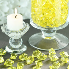 300 Pack Yellow Large Acrylic Ice Bead Vase Fillers Table Decoration
