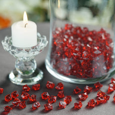 400 Pcs | Burgundy Mini Acrylic Crystals | Vase Filler Crystals | Table Scatters