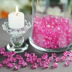 400 Pcs | Fushia Mini Acrylic Crystals | Vase Filler Crystals | Table Scatters