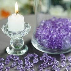 400 Pcs | Lavender Mini Acrylic Crystals | Vase Filler Crystals | Table Scatters