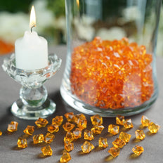400 Pcs | Orange Mini Acrylic Crystals | Vase Filler Crystals | Table Scatters