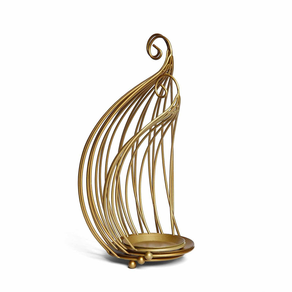 Hanging Wrought Iron Candle Holder Set For Centerpieces Set Of 3 Metallic Gold Bird Cage Candle Holder Set Tableclothsfactory