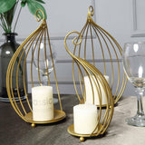 "Set of 3 |11"" Gold Metal Candle Holders Wedding Place Cards Table Centerpiece"