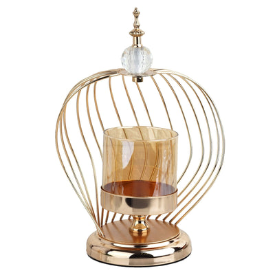 "13"" Gold Metal Cage Glass Votive Candle Holder With Crystal Baroque Top"