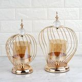 Set of 2 | Gold Metal Cage Glass Votive Candle Holder With Crystal Baroque Top - 12"