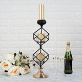 Geometric Candle Holders Wholesale with Amber Glass Votives | 20"