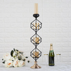 Geometric Candle Holders Wholesale with Amber Glass Votives | 28"