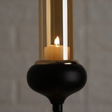 Metal Votive Candle Holder with Amber Glass Tube | 28"