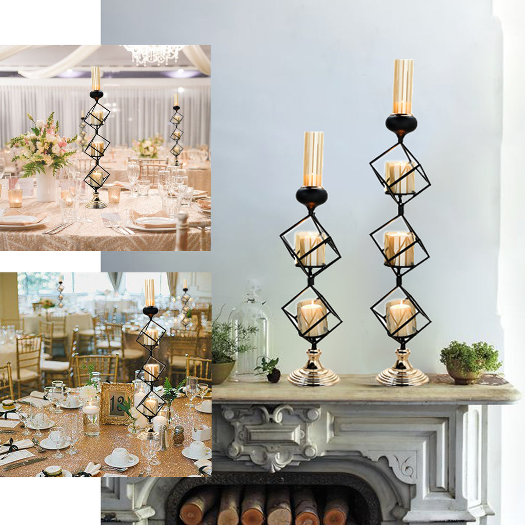 Geometric Candle Holders Wholesale with Amber Glass Votives   20 ...