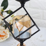 Set of 3 | Geometric Candle Holders Wholesale with Amber Glass Votives | Metallic Gold & Black | Stacked Design - 13"