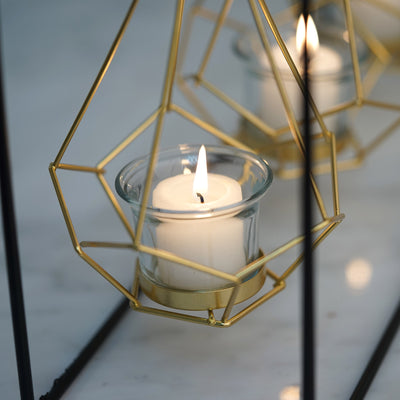 "Pack of 3 | 8"" Gold Hanging Geometric Tealight Candle Holders with 10"" Tall Black Iron Stand"