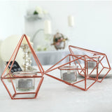 "16"" Rose Gold Geometric Candle Holder Set 