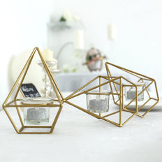 "16"" Gold Geometric Candle Holder Set 