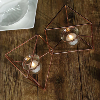 "9"" Rose Gold Geometric Candle Holder Set 