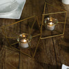"9"" Gold Geometric Candle Holder Set 