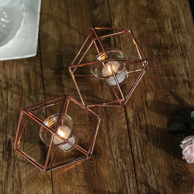 "11"" Rose Gold Geometric Candle Holder Set 