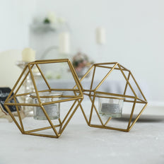 "11"" Gold Geometric Candle Holder Set 