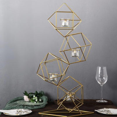 "25"" Gold Geometric Candle Holder Set 