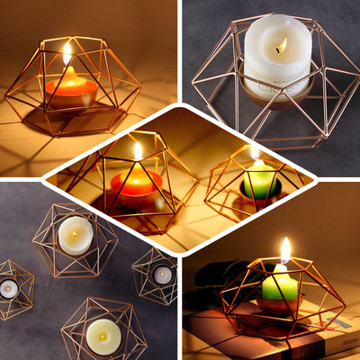 Set of 2 | Gold Tea Light Candle Holders | Hexagon Top Geometric Candle Holder Centerpiece - 4"
