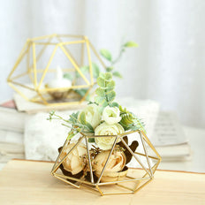 Gold Tea Light Candle Holders | Hexagon Top Geometric Candle Holder Centerpiece