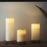 3 Pack - 4inch Gold Metal Plate Candle Holders, Decorative Wax Pillar Candle Holder Centerpiece
