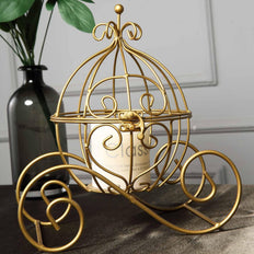 "11""  Gold Cinderella Carriage Party Centerpiece Card Display Candle Holder"