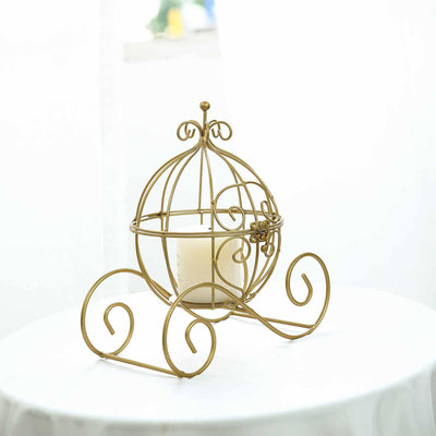 "11"" Gold Cinderella Carriage Card Display Candle Holder"