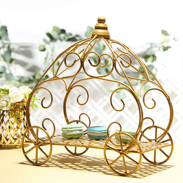 "11"" Gold Cinderella Pumpkin Carriage Centerpiece, Decorative Princess Carriage"