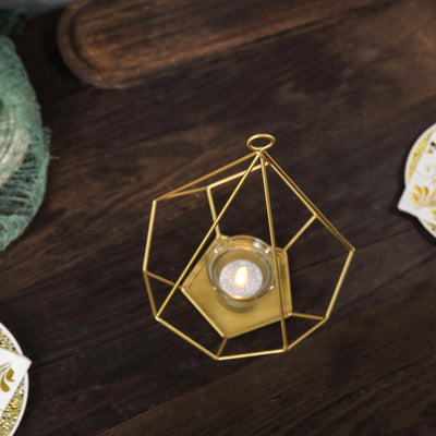 "2 Pack | 9"" Gold Metal Pentagon Geometric Tealight Candle Holders 
