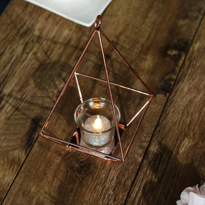 "2 Pack | 9"" Rose Gold Metal Geometric Tea Light Candle Holders 