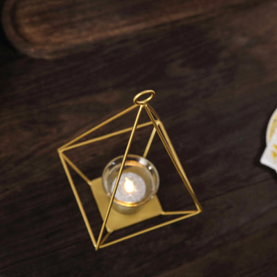 "2 Pack | 9.5"" Gold Geometric Candle Holders 