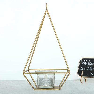 "2 Pack | 9"" Gold Metal Geometric Tea Light Candle Holders 